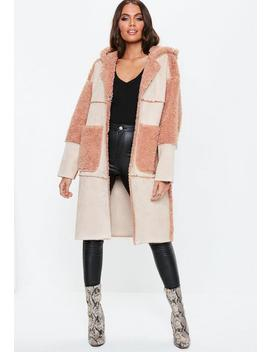 Blush Longline Curly Borg Coat by Missguided