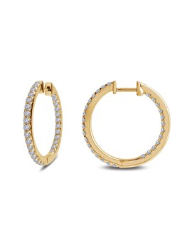 18 K Gold Plated Sterling Silver Simulated Diamond Inside Out 25mm Hoop Earrings by La Fonn