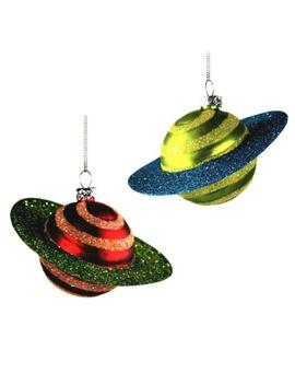 Set Of 2 Glass Saturn Planet Ornaments Christmas Tree Retro Outer Space Cosmic by Ebay Seller