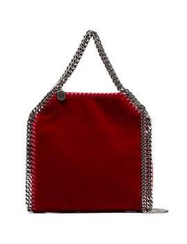 Red Falabella Mini Velvet Shoulder Bag by Stella Mc Cartney