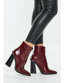 Burgundy Zip Front Ring Pull Boots by Missguided