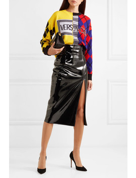 Paneled Printed Intarsia Wool Blend Sweater by Versace