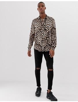 Asos Design Regular Fit Shirt In Leopard Print by Asos Design