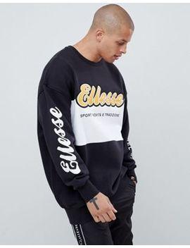 Ellesse Oversized Nannino Block Panel Sweatshirt In Black by Ellesse