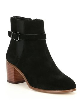 Helton Suede Belted Side Gore Booties by Gianni Bini