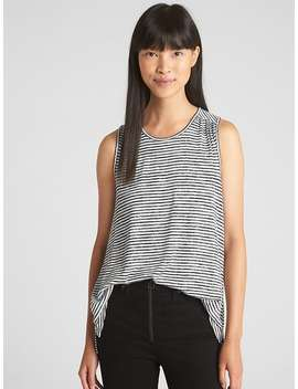 Softspun Stripe Hi Lo Tank Top by Gap
