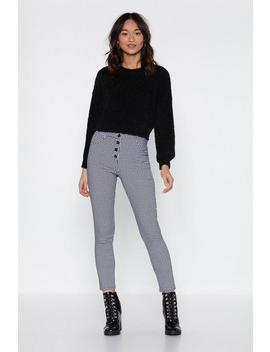 Button Your Lip Check Leggings by Nasty Gal