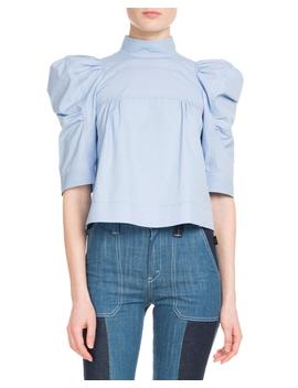Elbow Sleeve Mock Neck Cotton Poplin Cropped Blouse by Neiman Marcus