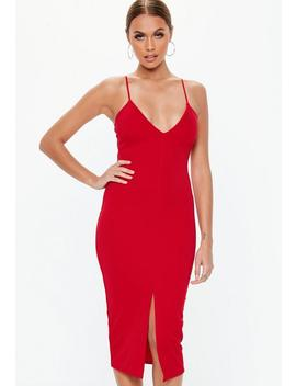 Red Scuba Plunge Split Front Midi Dress by Missguided
