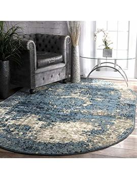 "Nu Loom Owtc01 A Transitional Lindsy Round Rug, 5' 3"" Round, Blue by Nu Loom"