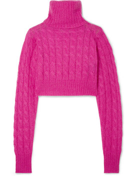 Cropped Cable Knit Mohair Blend Turtleneck Sweater by Matthew Adams Dolan