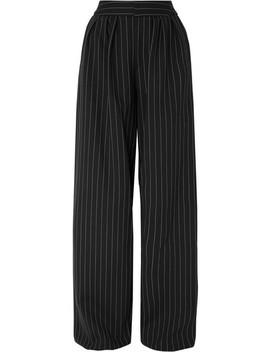 Pinstriped Wool Blend Wide Leg Pants by Gareth Pugh
