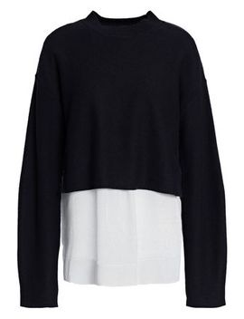 Layered Striped Poplin And Knitted Sweater by Joseph