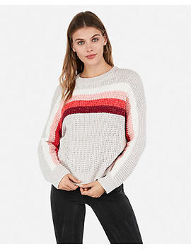 Velvet Thermal Striped Crew Neck Pullover Sweater by Express