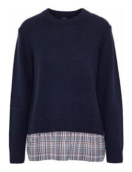 Checked Silk Paneled Wool And Cashmere Blend Sweater by Joseph