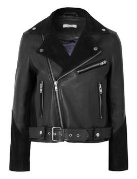 Lloyd Suede Paneled Textured Leather Biker Jacket by Ganni