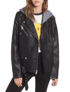 Fleece Hood Oversized Faux Leather Moto Jacket by Levi's®