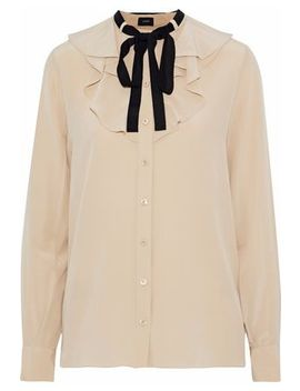 Pussy Bow Ruffled Silk Crepe De Chine Blouse by Joseph