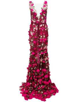 Plunge Neck Embroidered Gown by Marchesa Notte