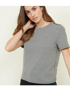 Black Houndstooth Button Shoulder T Shirt by New Look