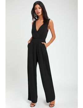 Kiska Black Lace Wide Leg Jumpsuit by Lulus