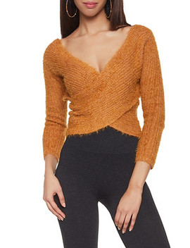 Feathered Knit Faux Wrap Sweater by Rainbow