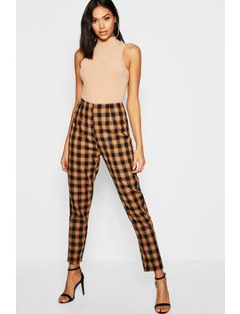 Woven Check Print Tapered Trouser by Boohoo