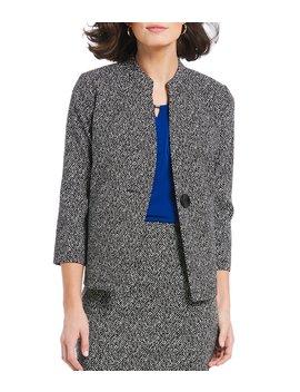 Petite Size Knit Jacquard Band Collar Jacket by Kasper