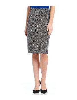 Petite Size Knit Jacquard Pencil Skirt by Kasper