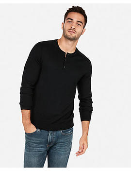 Merino Wool Blend Thermal Regulating Solid Henley Sweater by Express