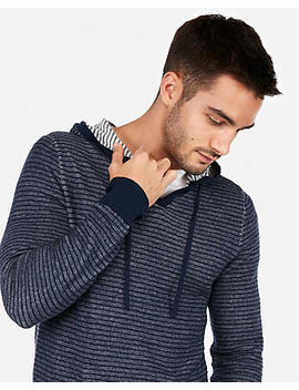Stripe V Neck Hooded Sweater by Express