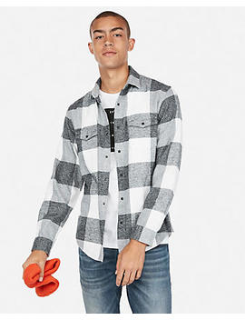 Large Plaid Flannel Shirt by Express