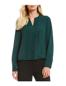 Petite Size Georgette Pleat Front Long Sleeve Notch V Neck Top by Calvin Klein