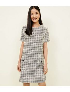 White Bouclé Check Button Pocket Tunic Dress by New Look