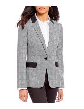 Petite Size Glen Plaid Contrast Pocket Jacket by Calvin Klein