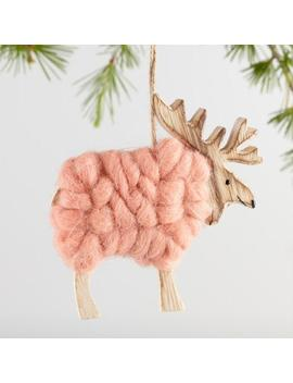 Raw Wood And Wool Reindeer Ornaments Set Of 3 by World Market