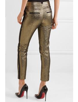 Skyla Grosgrain Trimmed Metallic Croc Effect Jacquard Slim Leg Pants by Rachel Zoe