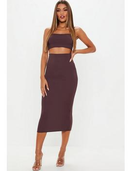 Petite Plum Ribbed Midi Skirt And Top Co Ord Set by Missguided