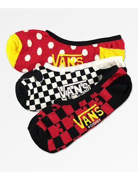 Disney X Vans Mickey Canoodle 90th 3 Pack No Show Socks by Vans