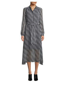 Francois Silk Houndstooth Midi Length Shirtdress by Equipment