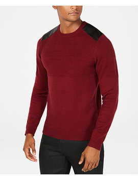 Men's Waffle Knit Shoulder Patch Sweater by Guess