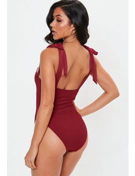 Burgundy Rib T Ie Shoulder Square Neck Swimsuit by Missguided