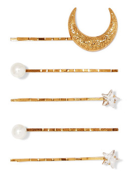 Set Of Five Gold Plated, Swarovski Crystal And Faux Pearl Hair Slides by Jennifer Behr