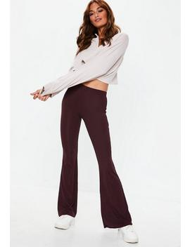 Petite Purple Jersey Ribbed Kick Flare Trousers by Missguided