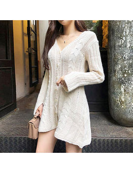 Chuu   Buttoned Cable Knit A Line Minidress by Chuu