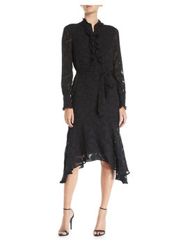 Palo Floral Burnout Velvet Long Sleeve Dress by Equipment