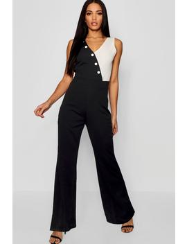 Contrast Button Detail Flare Jumpsuit by Boohoo