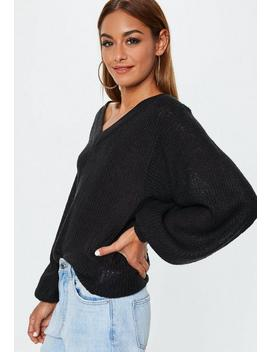 Black Fluffy V Neck Balloon Sleeve Sweater by Missguided