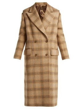 Detachable Sleeve Checked Wool Coat by Mm6 Maison Margiela