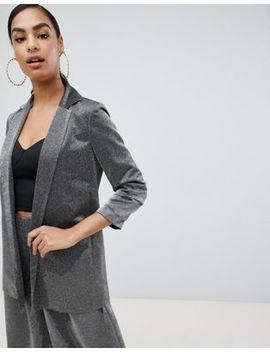 Asos Design Relaxed Suit Blazer In Metallic by Asos Design